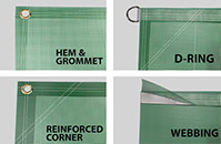 Set of 4 Finishing Options for Mesh Banners - Hem and Grommet, D-Rings, Reinforced Corners and Webbing
